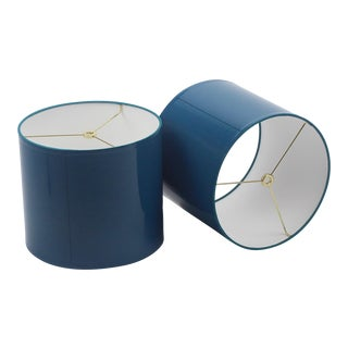 Small High Gloss Teal Lampshades - a Pair For Sale