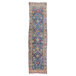 Blue Derbend Geometric Rug - 5′ × 19′10″ For Sale