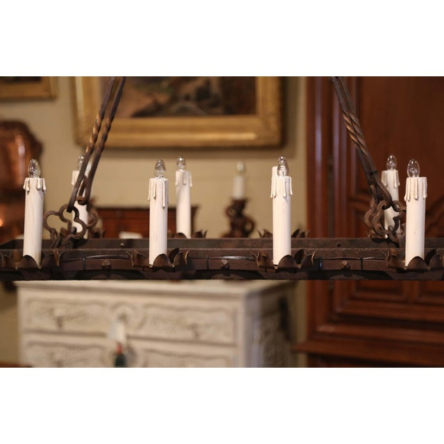 19th Century French Gothic Forged Iron Ten-Light Chandelier For Sale - Image 10 of 13