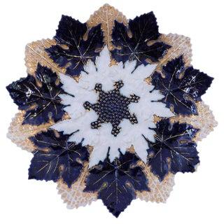 19th Century American Classical Flow Blue Meissen Porcelain Maple Leaf Plate