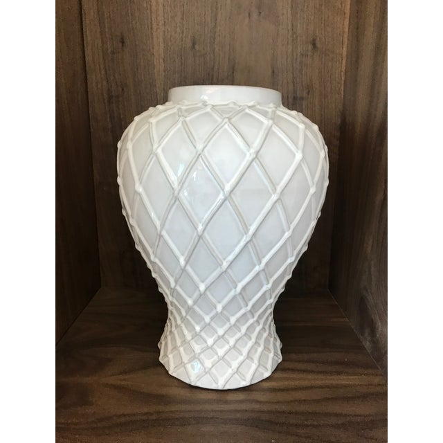 2000 - 2009 Exquisite Blanc De Chine Lidded Vase With Lattice Design, Italy For Sale - Image 5 of 12