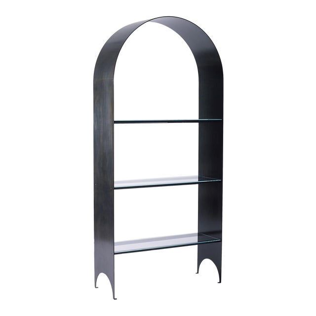 Thin Shelves Single in Contemporary Blackened Steel and Starfire Glass For Sale