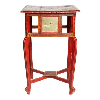 1940s Handpainted Red Table with Glass Panels For Sale