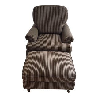 Bloomingdales Brown Striped Club Chair and Ottoman