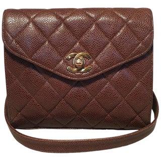 Chanel Vintage Quilted Brown Caviar Leather Crossbody Shoulder Bag For Sale