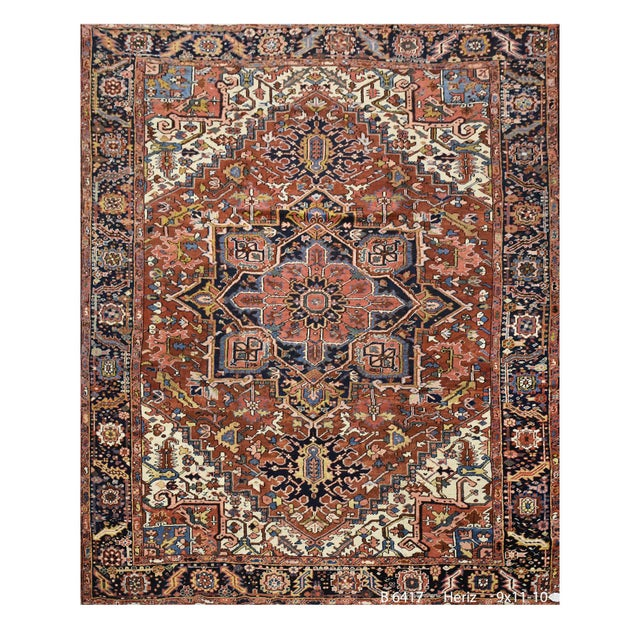 Antique Persian Heriz Rug - 9 x 11.10 - Image 4 of 9
