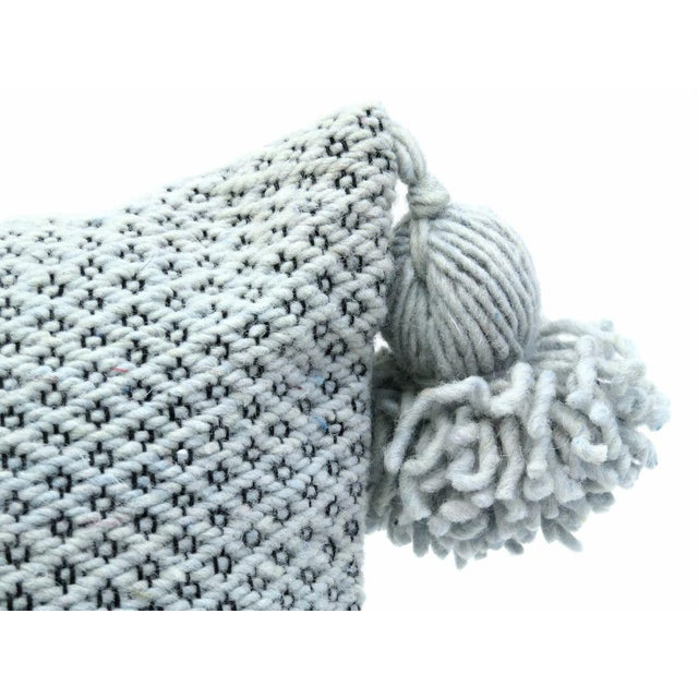 Boho Chic Moroccan Wool Pom Pom Pillow For Sale - Image 3 of 9