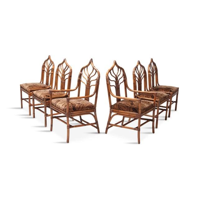 Regency Set of Italian Bamboo Dining Chairs With Floral Cushions For Sale - Image 13 of 13