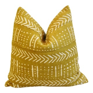 "Gold/Cream Mali Tribal Mud Cloth & Linen Feather/Down Pillow 22"" Square For Sale"