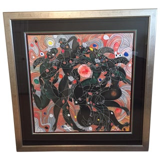 Playing Water Framed Serigraph For Sale