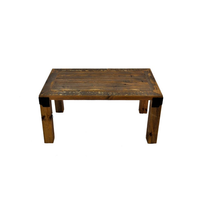 Industrial Reclaimed Handmade European Imported Industrial Wood Coffee Table by DARVO For Sale - Image 3 of 6