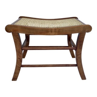 1940s Vintage Conant Ball Caned and Wood Ottoman Stool For Sale