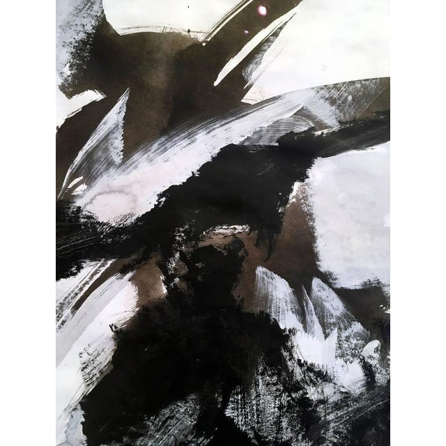 2010s Stephanie Cate Abstract Europa 30 Study Black and White Acrylic Painting on Paper For Sale - Image 5 of 7