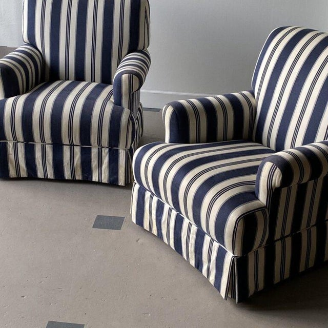 Bridgewater Striped Upholstery Club Chairs - A Pair For Sale - Image 4 of 7