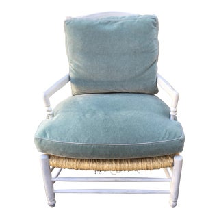 French Country Designer Blue Mohair Arm Chair