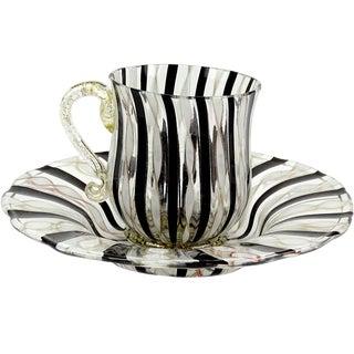 Antique Venetian Murano Black White Gold Flecks Italian Art Glass Cup Saucer Set - 2 Pieces For Sale