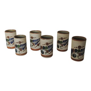 Set of Six Mexican Tonala Drinking Glasses. For Sale
