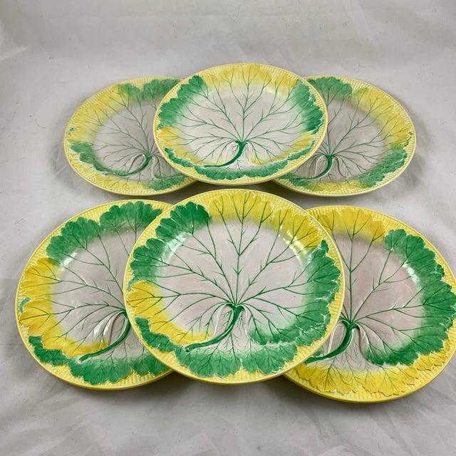 Josiah Wedgwood Josiah Wedgwood Pearlware Hand Enameled Cabbage Leaf Plates, Dated 1860, Set / 6 For Sale - Image 4 of 13