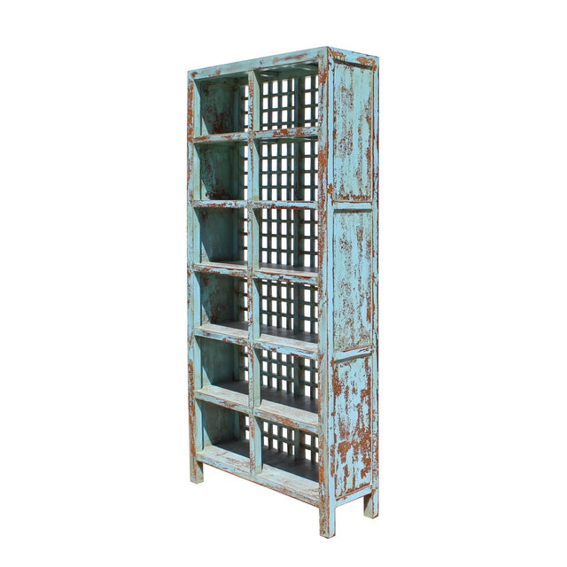 Asian Chinese Distressed Blue Lacquer Display Bookcase Cabinet For Sale - Image 3 of 6