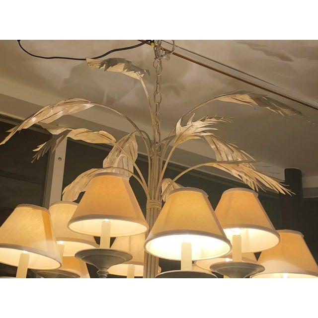 Hollywood Regency Vintage Palm Tree Frond Leaf Chandelier For Sale - Image 3 of 12