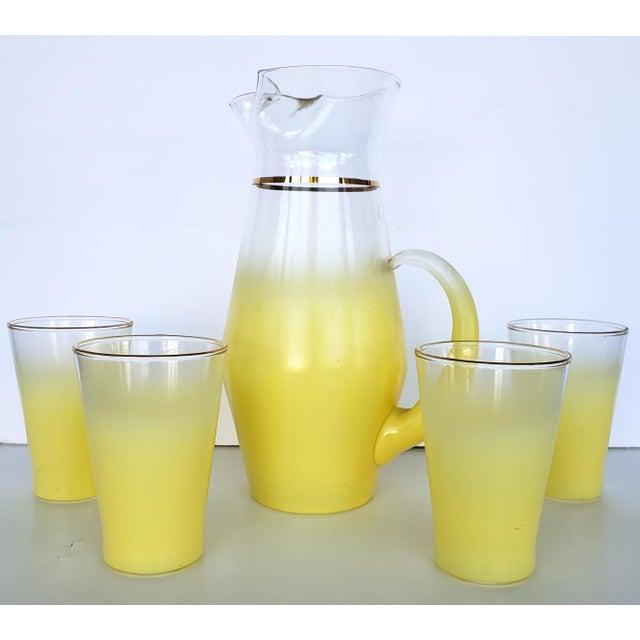 Glass Blendo West Virgina Glass Cocktail Pitcher & Glasses - Set of 5 For Sale - Image 7 of 7