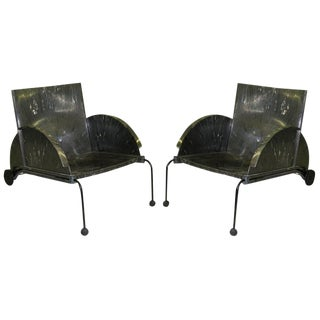1980s Pair of Italian Post Modern Lounge Chairs by Castelli Ferrieri