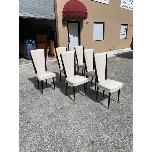 Art Deco 1940s Vintage French Art Deco Solid Mahogany Dining Chairs- Set of 6 For Sale - Image 3 of 12