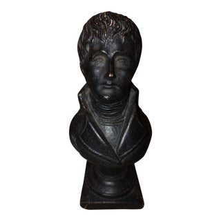 Vintage Colonial Male Library Bust Statue For Sale