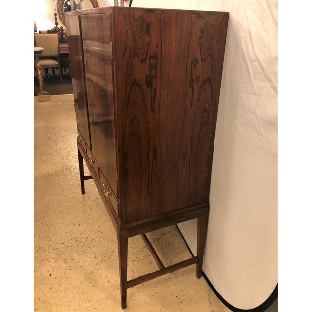 Two-Door Over Three-Drawer Mid-Century Modern Brazilian Rosewood Cabinet Chest For Sale - Image 4 of 13