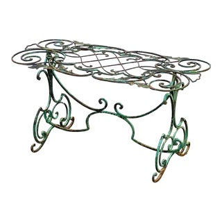 English Garden Table of Wrought Iron With Verdigris Painted Finish For Sale
