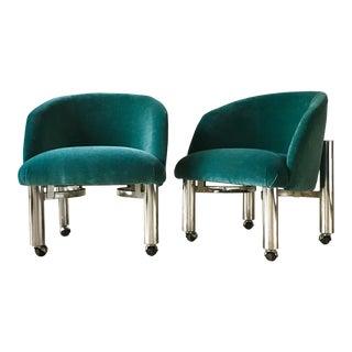 Pair of Chrome Framed Teal Velvet Tub Chairs 1960s For Sale