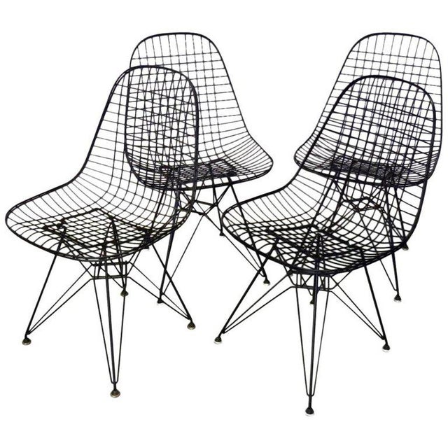 Metal Eames for Herman Miller DKR Wire Chairs on Eiffel Bases - Set of 4 For Sale - Image 7 of 7