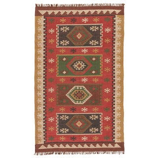 Jaipur Living Amman Handmade Geometric Red / Gold Area Rug - 9′ × 12′ For Sale