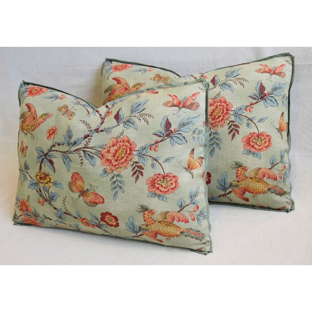 "Blue Designer Jasper Wallace Floral Vine Feather/Down Pillows 23"" X 16"" - Pair For Sale - Image 8 of 13"