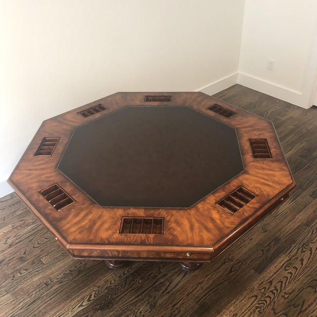 Sherrill Furniture Sherrill Occasional Masterpiece Collection Poker/Game Table and 4 Game Chairs Set For Sale - Image 4 of 13
