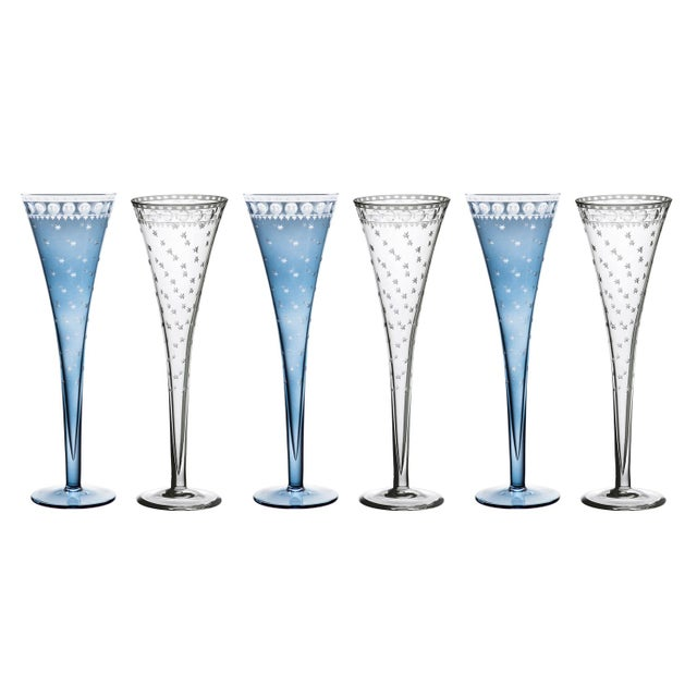 Artel ARTEL Staro Champagne Flute in Slate and Clear, Set of 6 For Sale - Image 4 of 4