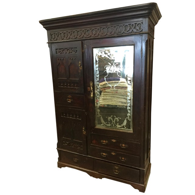 Antique Indian Hand Carved Rosewood Armoires With Etched Mirror For Sale
