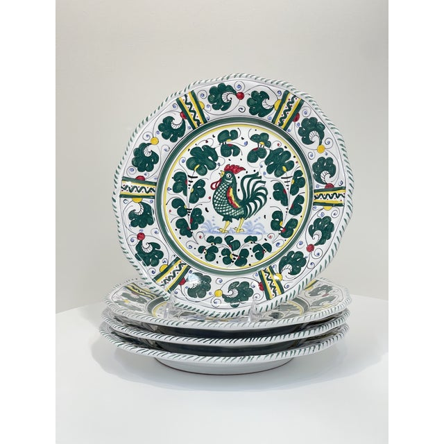 This set of 4, green leaf pattern is featured on the Dinner Plate - Full Design, originating from Orvieto, circa the 12th...