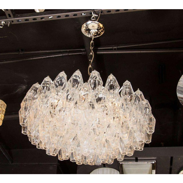 Metal Modernist Handblown Translucent Murano Glass Polyhedral Chandelier For Sale - Image 7 of 8