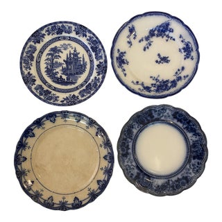 Antique 1900s Flow Blue Plates - Set of 4 For Sale