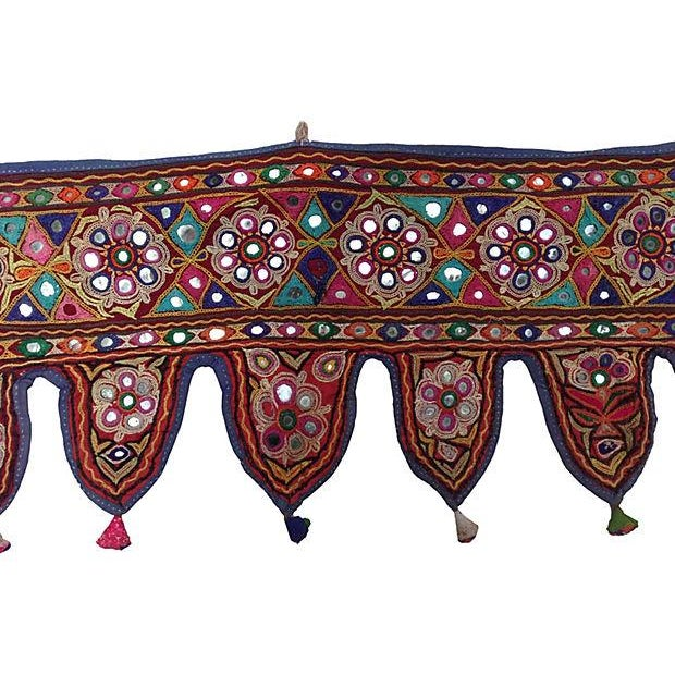 Indian Embroidered Mirrored Valance - Image 2 of 5