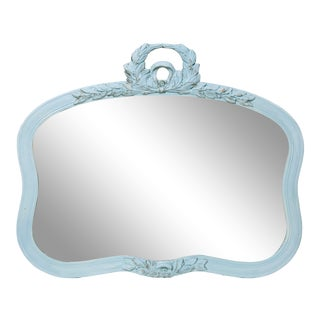 1920s Garland Trimmed Aqua Mirror For Sale