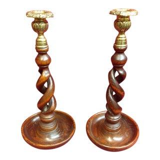 Antique English Barley Twist Oak & Brass Candle Sticks- A Pair