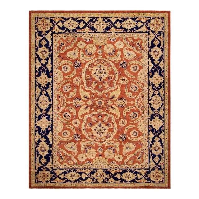 """Kafkaz Peshawar Risa Orange Blue Wool Rug - 9'2"""" x 11'10"""" For Sale"""