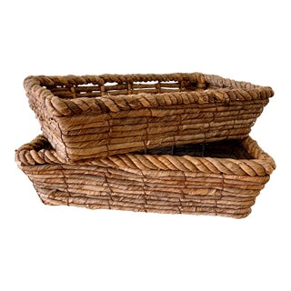 Set of Two Earthy Rustic Boho Baskets For Sale