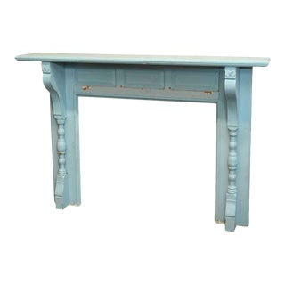 Antique Blue Wooden Mantel