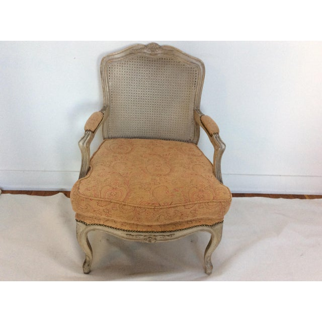 Shabby Chic French Style Armchair With Caned Back For Sale - Image 3 of 6