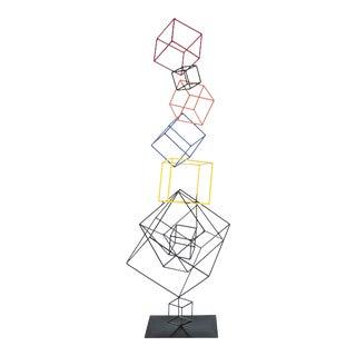 Multicolor Metal Floating Boxes Welded Sculpture For Sale