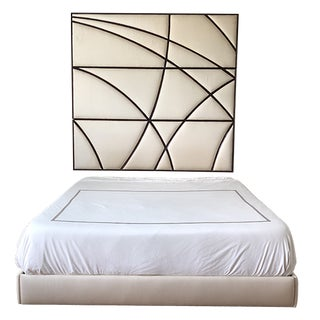 Contemporary Christopher Guy Headboard and Upholstered Bedframe in Silk Canvas - 2 Pieces For Sale