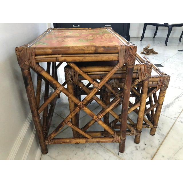 Boho Chic 1960s Boho Chic Bamboo Nesting Tables - 3 Piece Set For Sale - Image 3 of 8